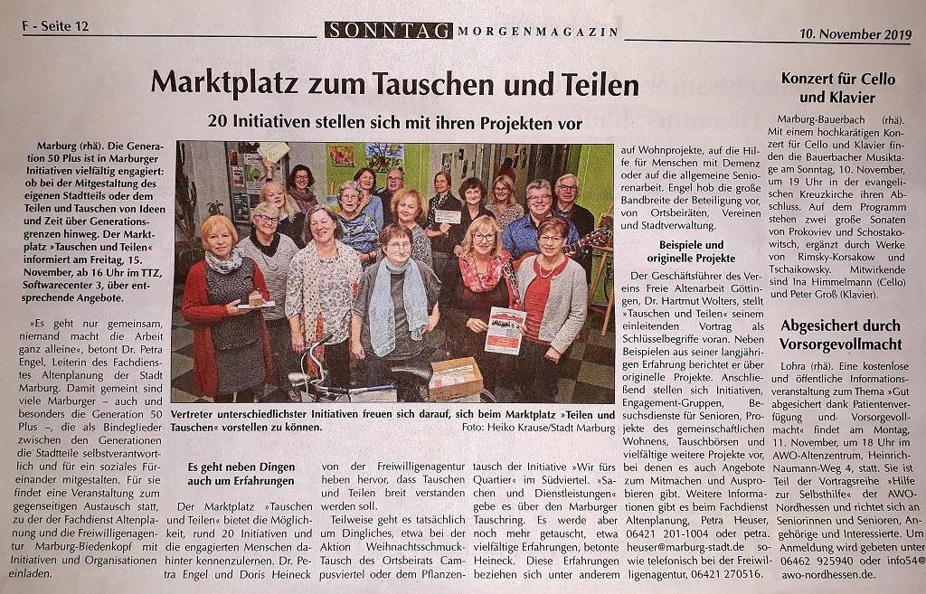 """15. November 2019 Markt """"Tauschen und Teilen"""" TTZ"""
